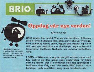 Faksimile fra BRIO-kjedens lanseringsbrosjyre