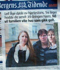 Faksimile av Bergens Tidendes omtale av Leif Åges sak. Dette er førstesiden.