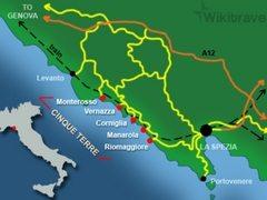 Kart over Cinque Terre, Italia.