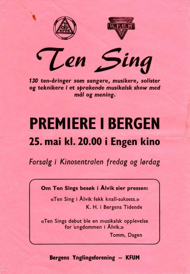 Flygeseddel for TEN SINGS første STORE oppsetning i Engen Kino, Bergen WEB