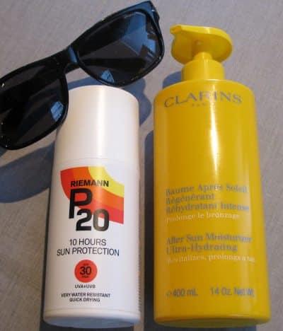 Riemann P20 spray og Clarins After Sun