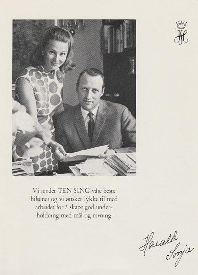 Ten Sing fikk i 1968 æren av å synge for det vordende kronprinsparet i Bergen. www.johnsteffensen.no
