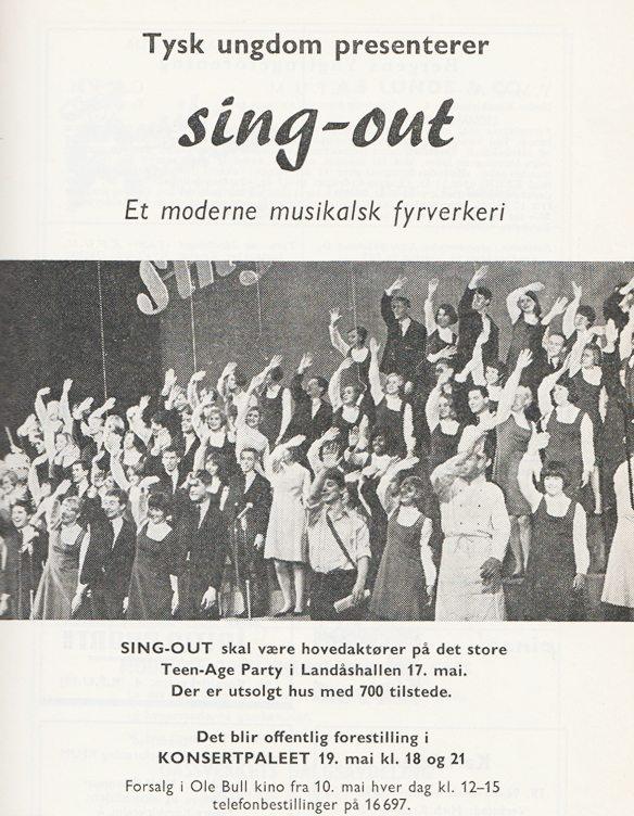 Dette er en faksimile av flygeseddelen som presenterte Sing Out Deutschlands konserter 17. og 19. mai 1967. Det var disse konsertene som dannet opptakten til Ten Sing Bergen, og det var dette konseptet som Ten Sing fikk lov til å kopiere, om enn med sin egen spesielle vri. Teen-Age partyet i Landåshallen 17. mai ble en legendarisk ungdomsfest, og detv tyske korets musikalske fyrverkeri skapte en enorm entusiasme blant bergensungdommen. www.johnsteffensen.no