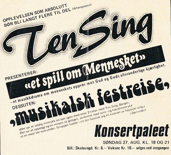 Annonse for første åpne forestilling etter Tenåringstreffet i Bergen.