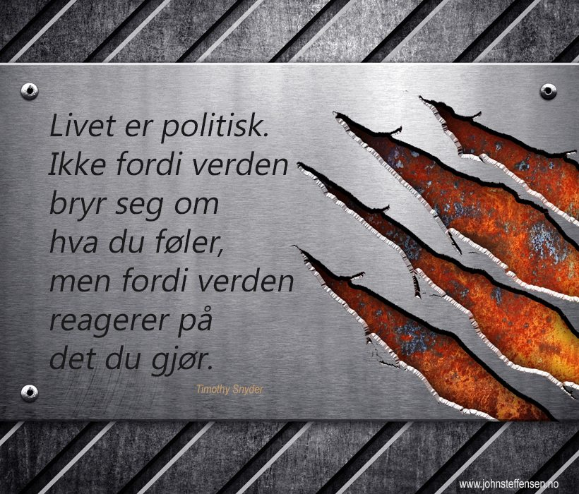 Livet er politisk. Slik Timothy Snyder formulerer det. www.johnsteffensen.no
