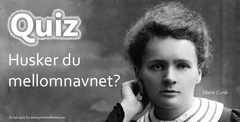 Hvor godt husker du mellomnavnet? Test dine kunnskaper i denne interaktive quizen. www.johnsteffensen.no