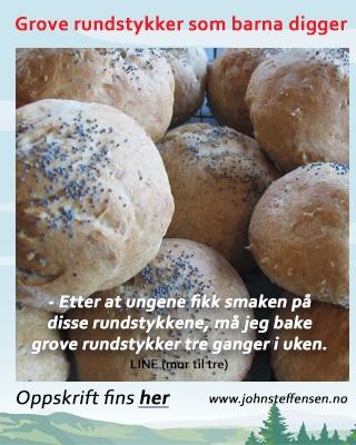 En fantastisk god oppskrift på grove rundstykker. www.johnsteffensen.no