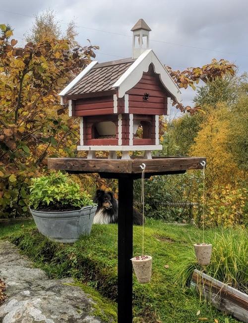 Dette stabburet er en effektiv og dekorativ fuglemater. Foto: johnsteffensen.no