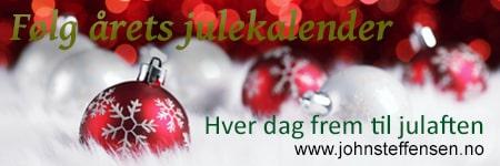 Følg julekalenderen 2018 på www.johnsteffensen.no. Lær nye ting hver eneste dag frem til julaften.