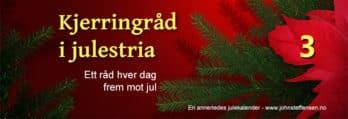 Kjerringråd i julestria er julekalender på www.johnsteffensen.no